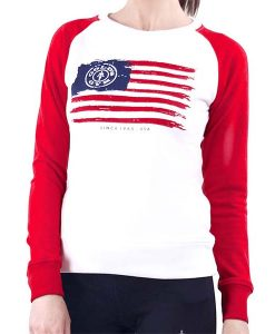 Sweater american Ladies white-red front_